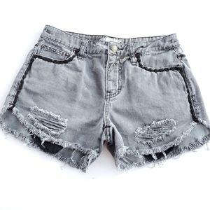 Free People Distressed Cut-Off Denim Shorts